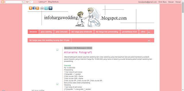 info harga wedding: Daftar harga paket foto wedding dan prewedding