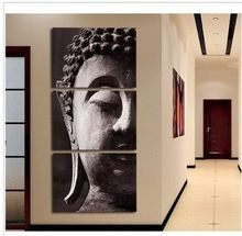 Cheap Large Buddha Statue Art Canvas Wall Picture Painting On Canvas Modern Buddha Portrait Oil Painting 3 Panels Set Wall Decor(China (Mainland))