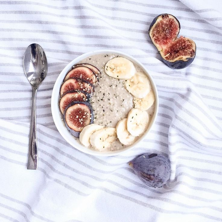 Figs and bananas are quite the yummy combo!  Give this delicious fig and banana smoothie bowl a try!    - 1 frozen Banana - 1 ripe Fig - 1 tsp Nut Butter (I used natural peanut butter) - 1/4 cup Almond or Coconut Milk  Mix it all in the blender and voila!  Top with fig, banana, nuts and seeds ;)