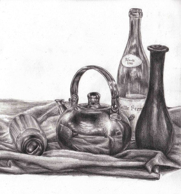Still life drawings by Chua Yi Ting for Drawing & Perspective module from Diploma in Animation & 3D Art.