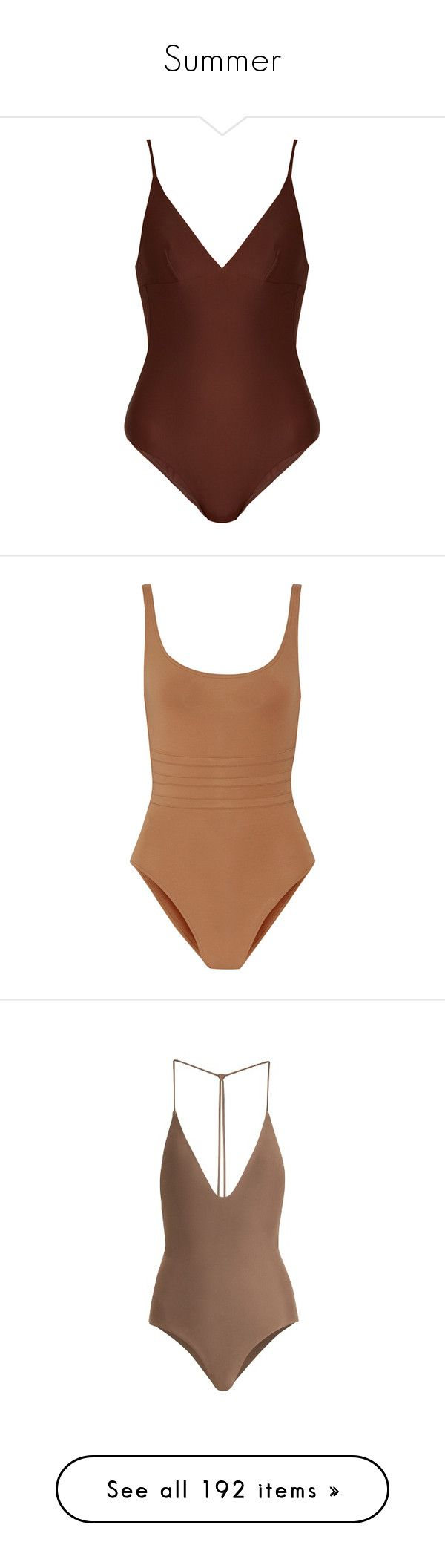 """""""Summer"""" by tenindvr ❤ liked on Polyvore featuring swimwear, one-piece swimsuits, swimsuit, brown, swimsuit swimwear, seamless bathing suits, brown swimsuit, brown one piece swimsuit, plunge bathing suit and tops"""