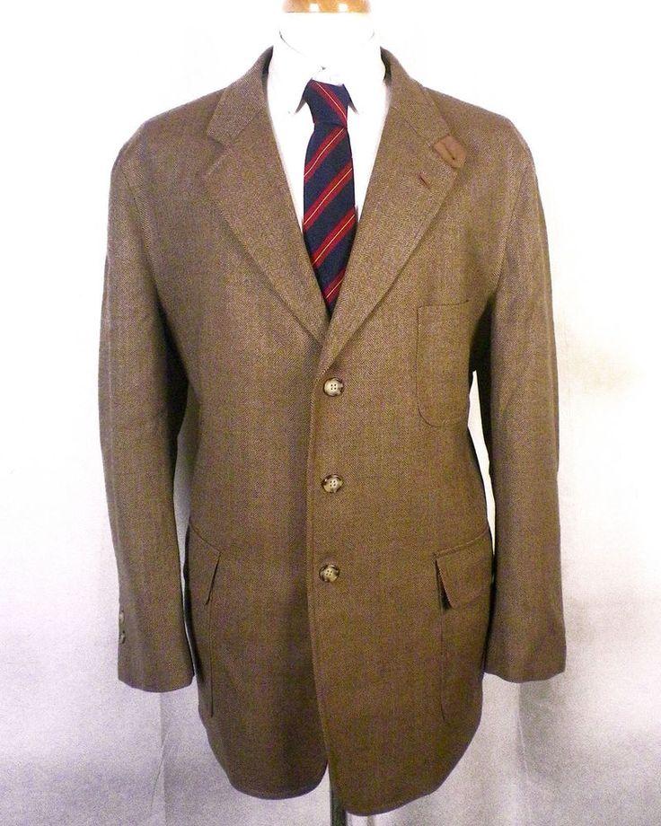 NWOT T. Harris London Brown 100% Lambswool Tweed Shooting Jacket Blazer XL 48 R #THarrisLondon #ThreeButton