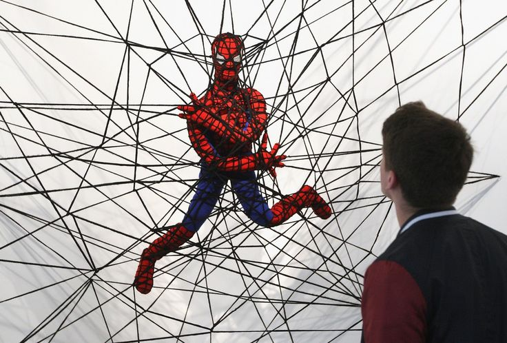 """The knitted sculpture """"Spiderman"""" by Patricia Waller"""