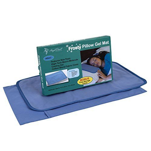 Frosty Pillow Gel Mat - Cooling Pillow Mat - Reduces Migraines, Hot Flashes and Fevers Soft & Flexible Slim Design Conforms to Your Body - ADULT SIZE - Includes Storage Cover (12.5 x 22 inches) Angel Baby http://www.amazon.com/dp/B01600LIQI/ref=cm_sw_r_pi_dp_uOSSwb0H3KJ4F