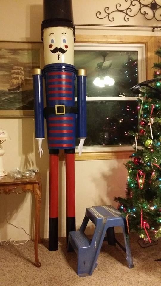 This Toy Soldier is made out of 4 used 5 gallon buckets and 4 pieces of pvc pipe. I spray painted all the parts.