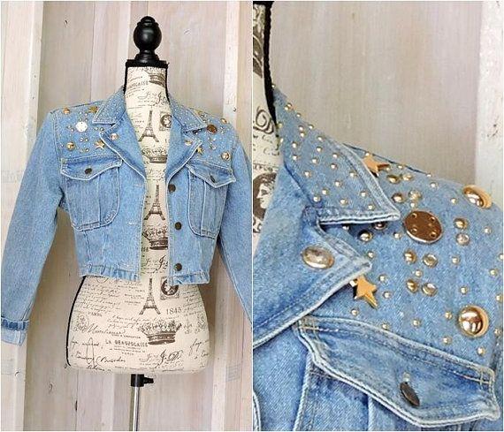 0156c16a7c972 Vintage 80s Denim jacket   cropped   embellished   jean jacket   size XS    S   Boho   Retro   Rocker   Glam   Bling   Festival