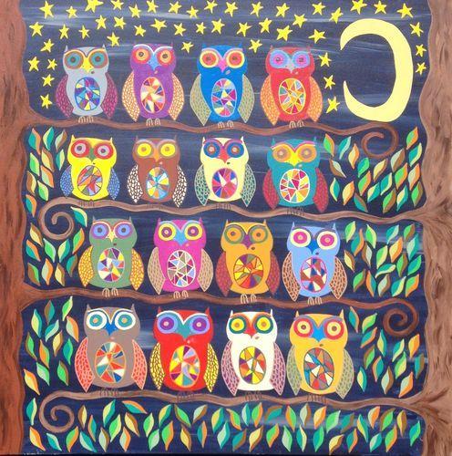 Mexican Folk Art Owls Autumn Talavera Halloween Original Painting _AMBROSINO