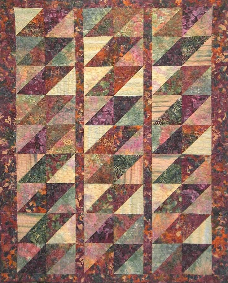 We love Batiks, and this pattern does them justice.  Check out the video showing how to square the blocks... http://youtu.be/cPkEy-WXUpQ