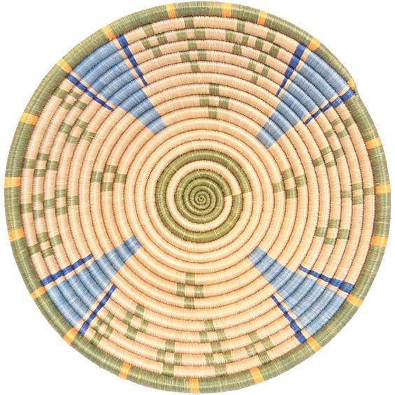 African Basket - Rwanda Sisal Coil Weave Bowl - 12 Inches Across - #33843
