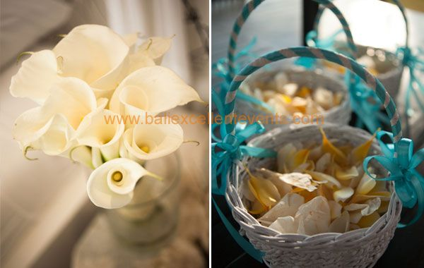 Cala Lily bouquet and flower shower in basket