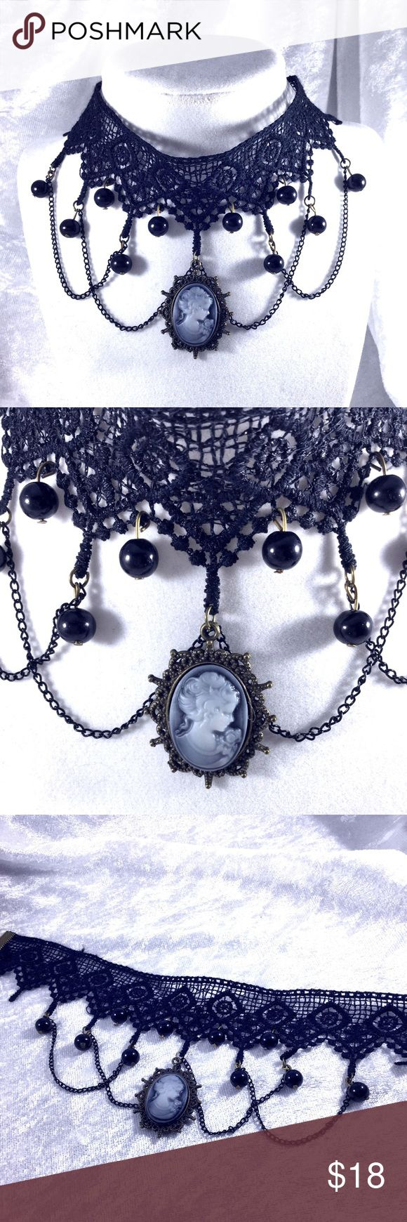 "Gothic Lace & Cameo Statement Choker Necklace Lace, chain, bed and black and white cameo gothic retro Victorian punk, steampunk, choker.   14.5"" adjustable. Costume jewelry. Lace is a delicate lace. Save the most with bundles. I offer 25% off on bundles of 2+ items. I accept reasonable offers. No trades. I only do business on Poshmark. Boutique Jewelry Necklaces"