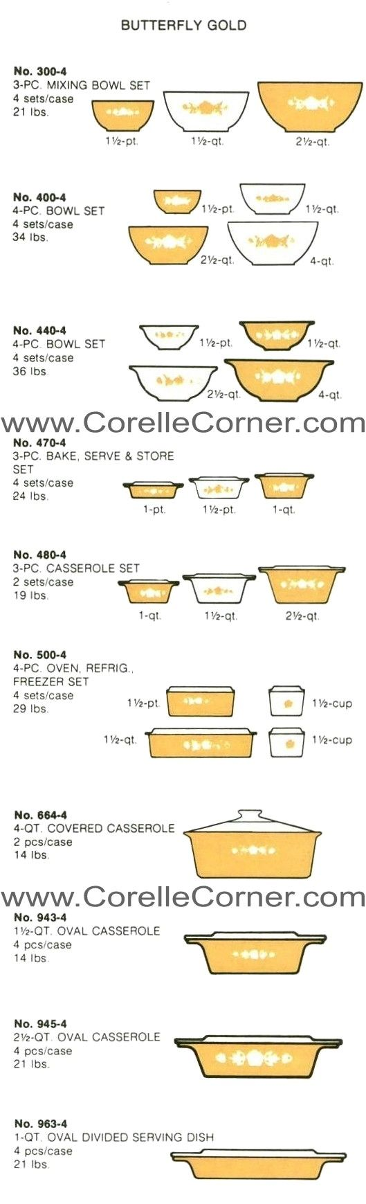 Butterfly Gold, image from 1976 Pyrex Catalogue
