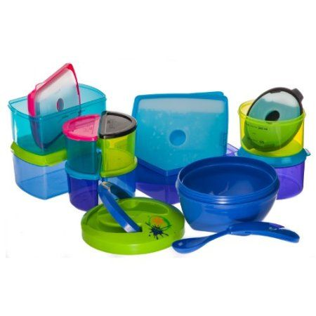 """Kids Value Lunch Container Set with Removable Ice Packs - 25 Piece Set    """"Fit & Fresh Healthy""""   link to website www.fit-fresh.com"""