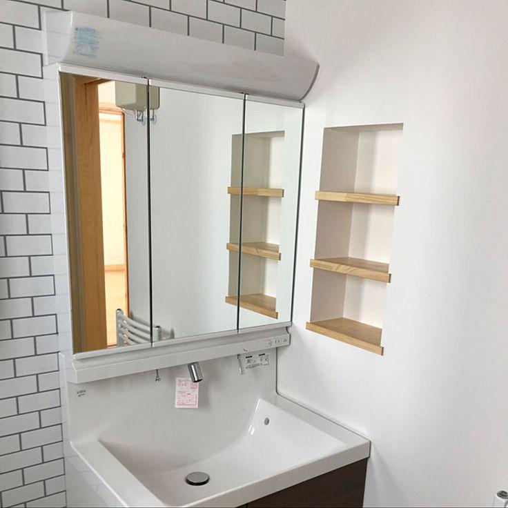 Bathroom/洗面台周り/swedenhouse/アクセントクロスレンガ柄のインテリア実例 - 2018-01-02 13:15:56
