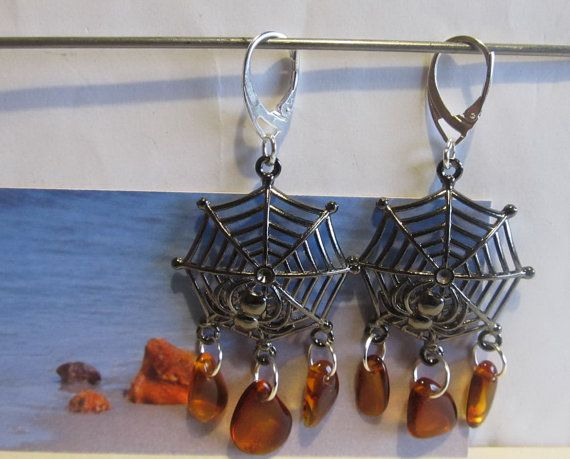 100% Natural Baltic #Amber #Earrings #Web Spider #Silver plated cognac transparent beads free shape souvenir gift present Bernstein Ohrringe