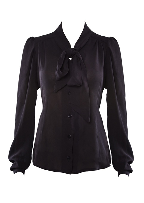 1940s Black Pussy Bow Blouse