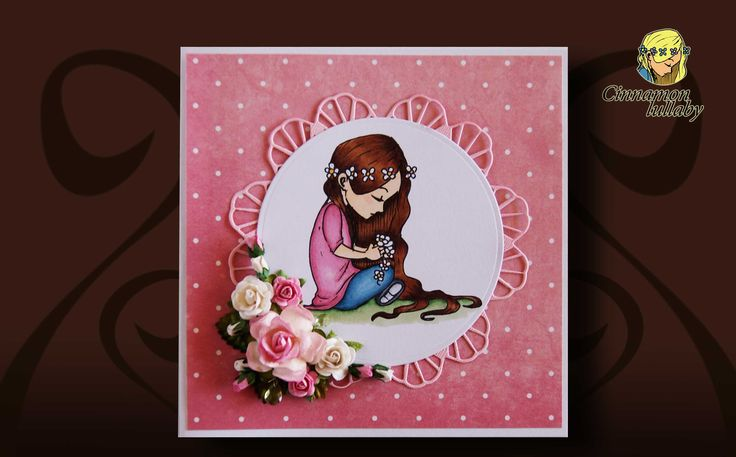 Don't you love this wonderful card made by Juanita Patrick using digital stamps from Cinnamon Lullaby? #flowergirl #craft #cardmaking #cinnamonlullaby  https://cinnamon-lullaby.myshopify.com/products/daisy-crown