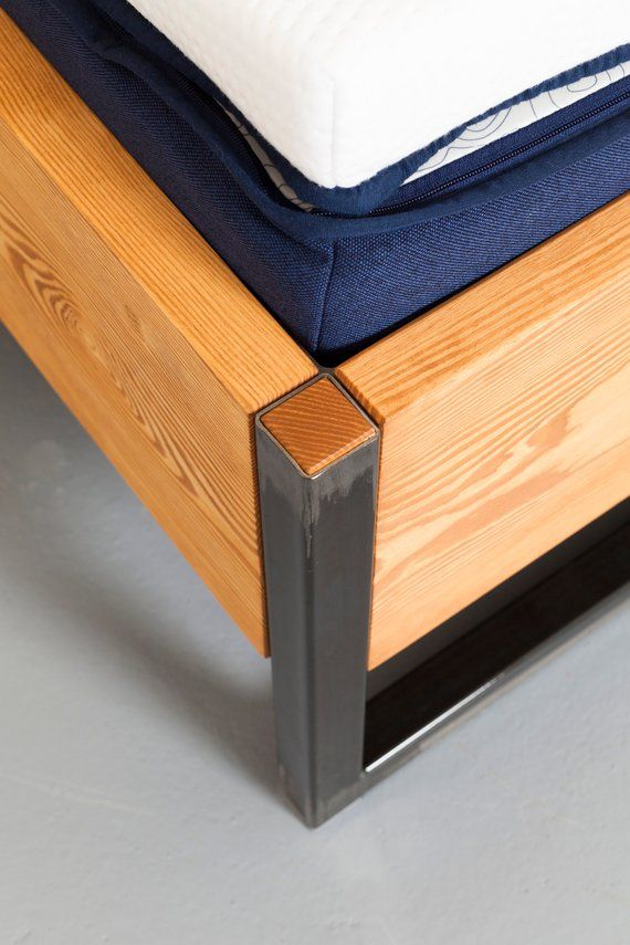 Bed Made Of Recycled Timber Steel And Vegan Leather Bonnieux