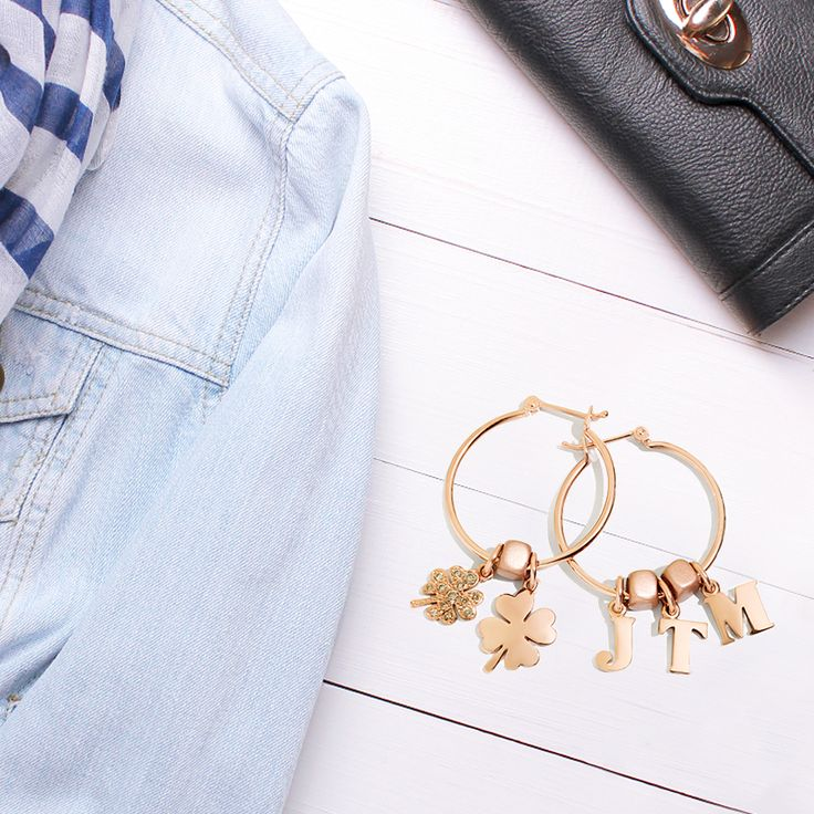 Combine the rose gold hoop earrings with the rose gold Letters and Four-leaf clover charms to create a casual but sophisticated look.