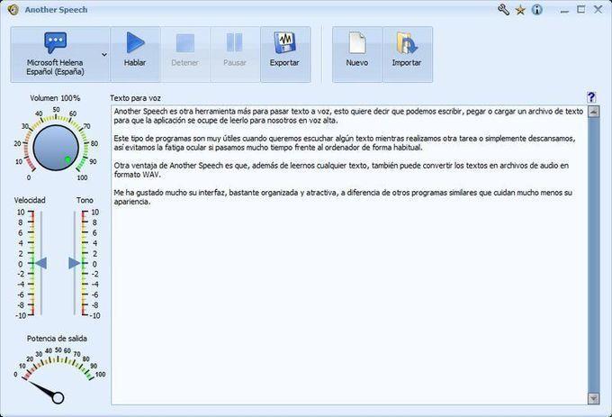 Another Speech es un software gratuito para Windows que se ocupa de leernos en voz alta cualquier texto escrito, pegado o cargado. También podemos exportarlo como audio WAV.