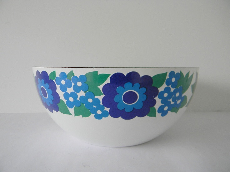 Finel Blue Green and Teal Flower Floral Enamel Bowl Made in Finland