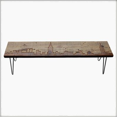 New York Reclaimed Wood Bench With Mid Century Style Hairpin Legs Is A  Perfect Gift. One Of A Kind Bench That Highlights The Beauty Of The New  York Skyline ...