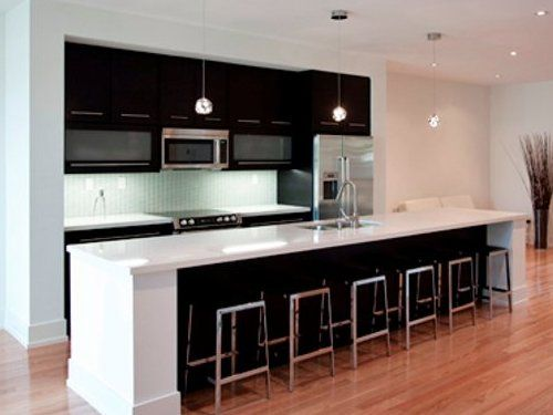 Popular One Wall Kitchen Layout with Island : Small One Wall Kitchen Designs