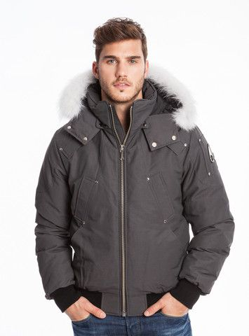 Moose Knuckles Men's Ballistic Bomber in Grey with White Fur