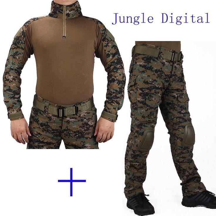 58.99$  Buy now - http://aliark.shopchina.info/1/go.php?t=32751302870 - Hunting Camouflage BDU JD Combat uniform shirt met Broek en Elbow & KneePads militaire cosplay uniform ghilliekostuum jacht  #aliexpresschina