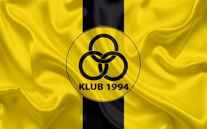 Download wallpapers Horsens fc, 4K, Danish football club, emblem, logo, Danish Super League, football, Horsens, Denmark, silk texture