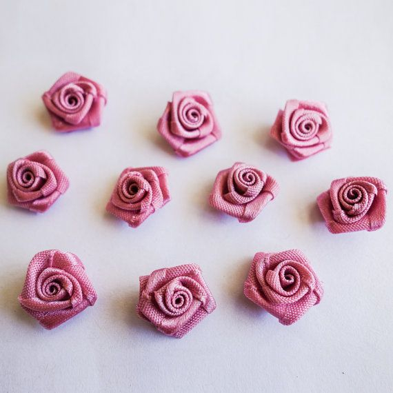 Miniature Variegated Magenta  Ribbon Rose Buds by ColourCocoon