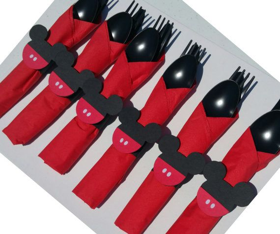 Set of 10 - Mickey Mouse Birthday Party Cutlery, Pre-wrapped Utensils, Mickey Party Supplies, Mickey Forks, Disney Party, Mickey Party Cups