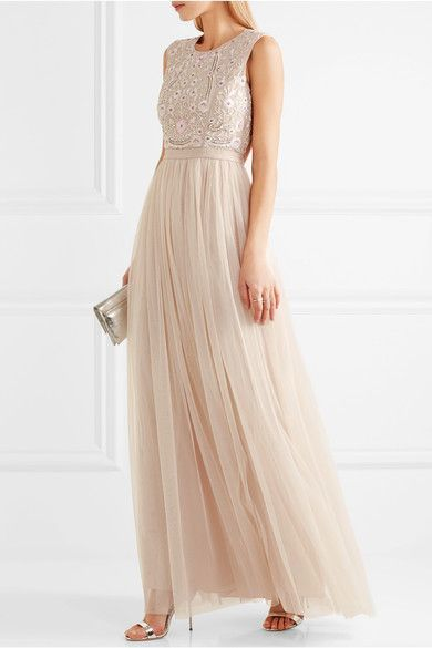£250, Needle & Thread | Prairie open-back embellished chiffon and tulle gown | NET-A-PORTER.COM