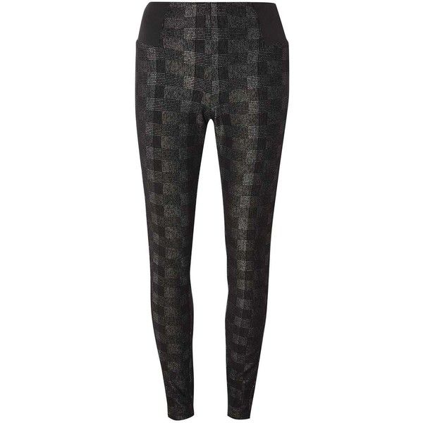 Dorothy Perkins Charcoal Check Print Treggings ($29) ❤ liked on Polyvore featuring pants, charcoal, elastic pants, checked pants, checkered pants, dorothy perkins and charcoal gray pants
