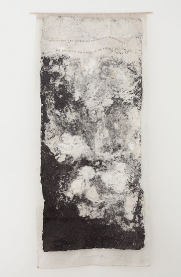Alison Knowles | Thunder Bay, 2003 | Pure white cotton, pure black cotton, hand stamps
