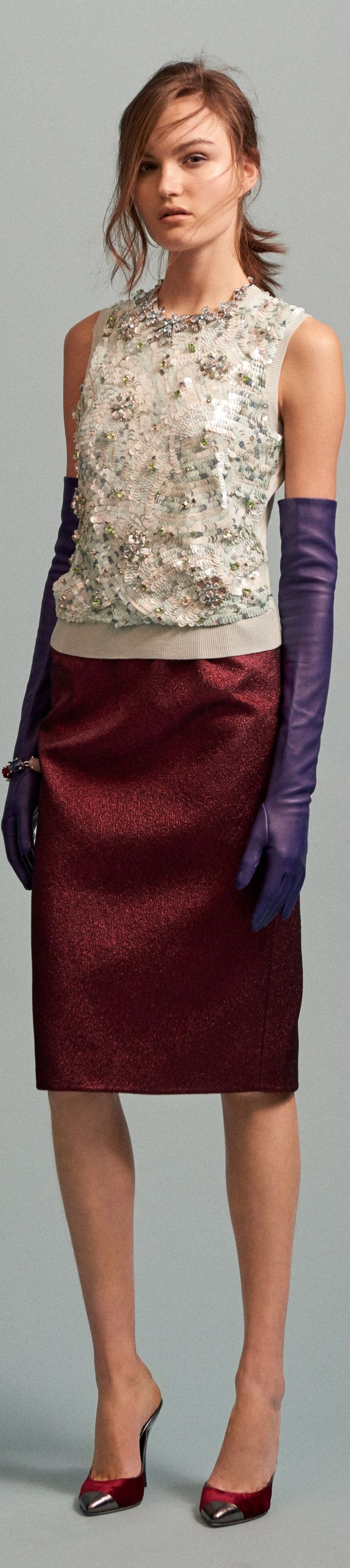 Oscar de la Renta Pre Fall 2016 vogue women fashion outfit clothing style apparel @roressclothes closet ideas