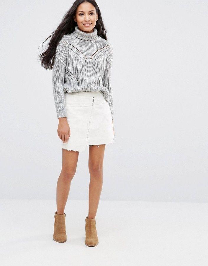 Pepe Jeans Solace Denim Wrap Mini Skirt