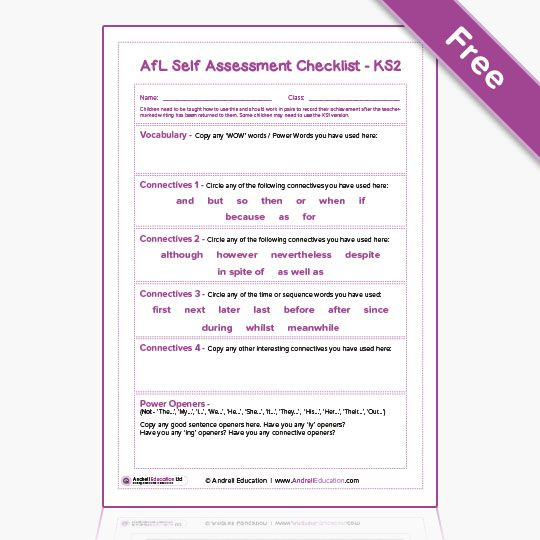VCOP Checklists | Andrell Education