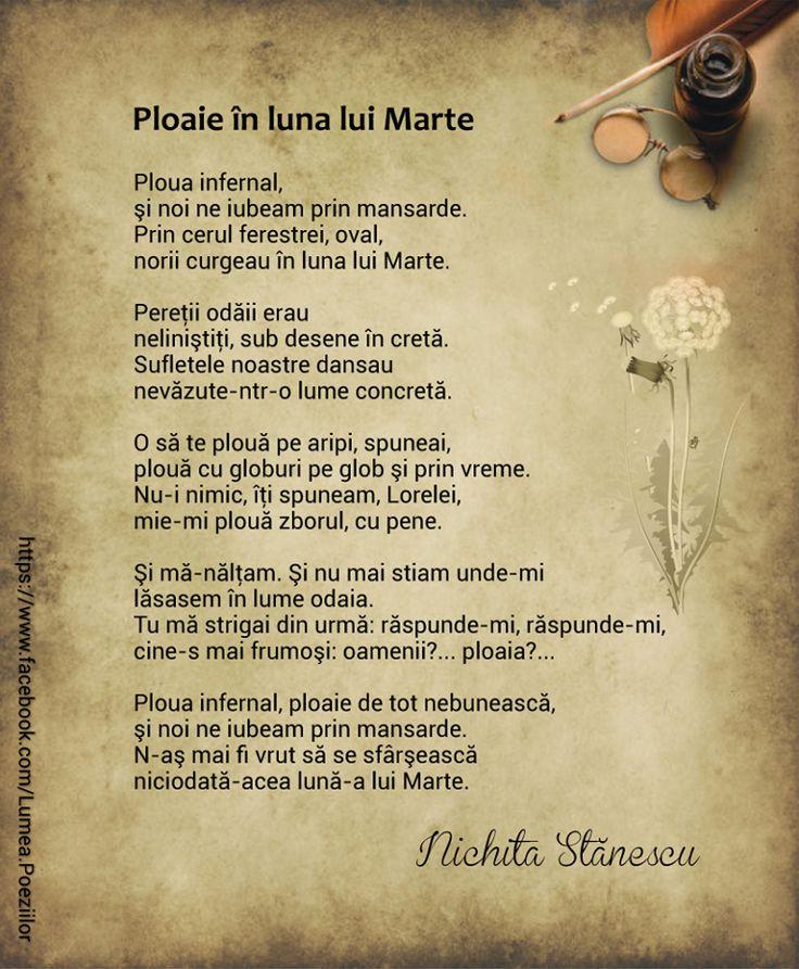 Ploaie în luna lui Marte - Nichita Stănescu, poezii