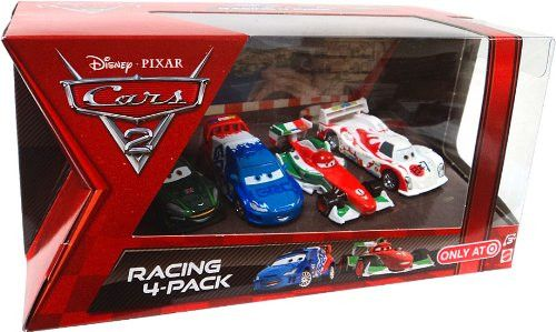 Disney / Pixar CARS 2 Movie Exclusive Die Cast Car Racing 4Pack Francesco Bernoulli, Shu Todoroki, Nigel Gearsley Raoul Caroule