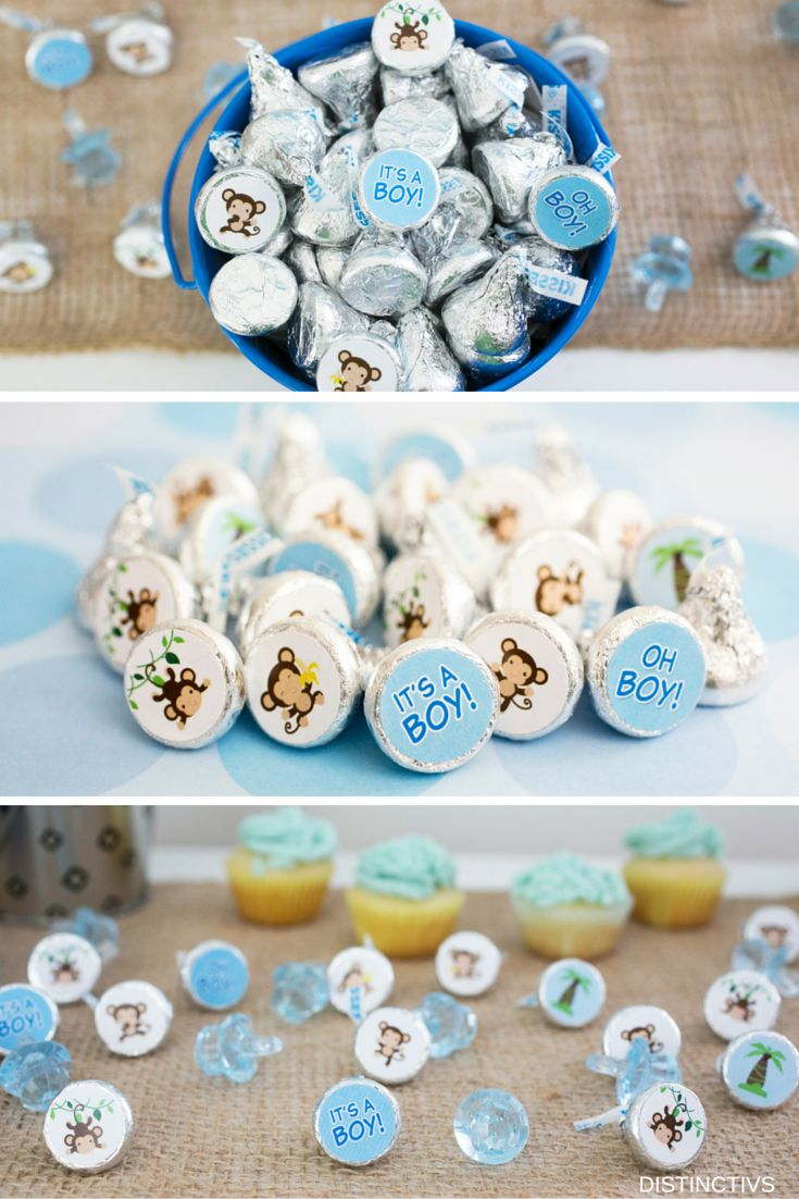Go a little Monkey with this It's a Boy Baby Shower Collection.  9 Cute Designed Stickers that are a perfect fit for Hershey Kisses.    #itsaboy