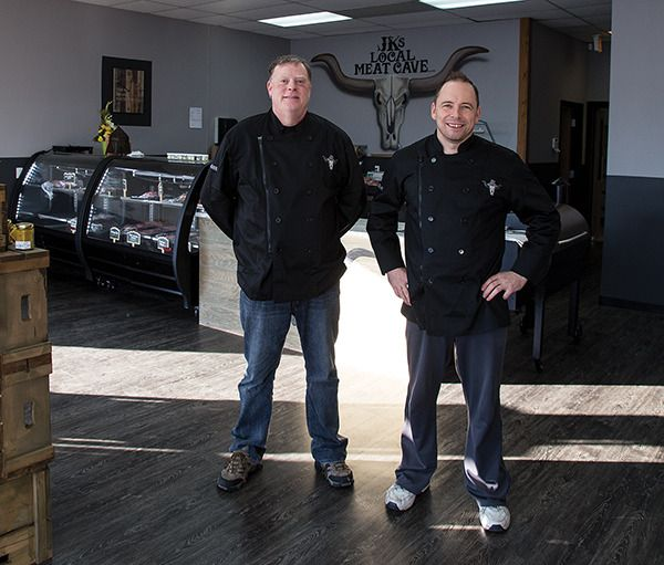 Jason Zotek and employee Harmen Bommassar are a part of the team at the newly opened JKs Local Meat Cave. The shop at 1270 Dogwood St. opened on Jan. 19.
