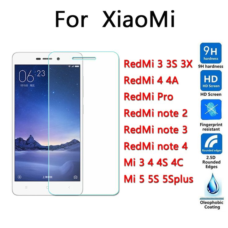 Tempered kaca untuk xiaomi redmi 3 3 s 3x pro 4 4a catatan 2 catatan 3 catatan 4 mi4C mi5 5 S ditambah Screen Protector 9 H 2.5D hd mi4