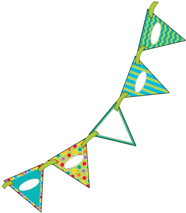 """Create innovative classroom displays with this double-sided Fresh Sorbet Bunting! Perfect for making bulletin boards stand out, or creating bold headlines while adding a personal touch to your classroom décor, open houses, welcome signs, special events, and more! Each pennant is double-sided and pre-punched for easy stringing. Includes (16) 7"""" x 7"""" pennants and one 10' ribbon, large enough to create an impressive display!"""