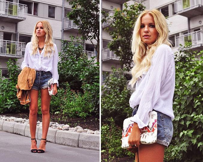 My Blomquist › blue jeans, white shirtA Mini-Saia Jeans, Blue Jeans