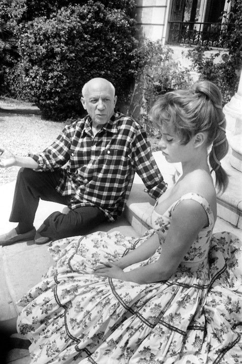 Pablo Picasso and Brigitte Bardot at his studio in Vallauris during the 1956 Cannes Film Festival.