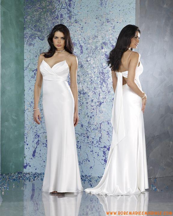 Robe sirène avec bretelles spaghettis en sation ornée de plis robe de mariée grande taille