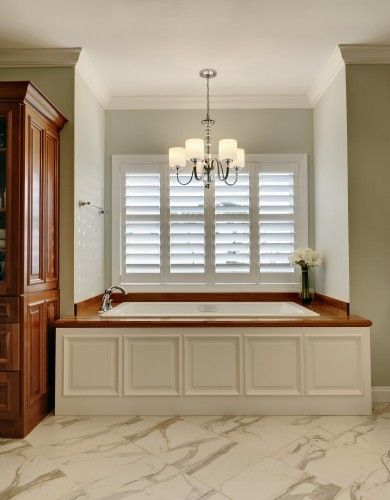 Bathtub Wood Panel Cover tutTubs, Custom Home, Traditional Bathroom, Bathroom Lights, Bathroom Ideas, Master Bath, Windows Shutters, Plantations Shutters, Bathroom Windows