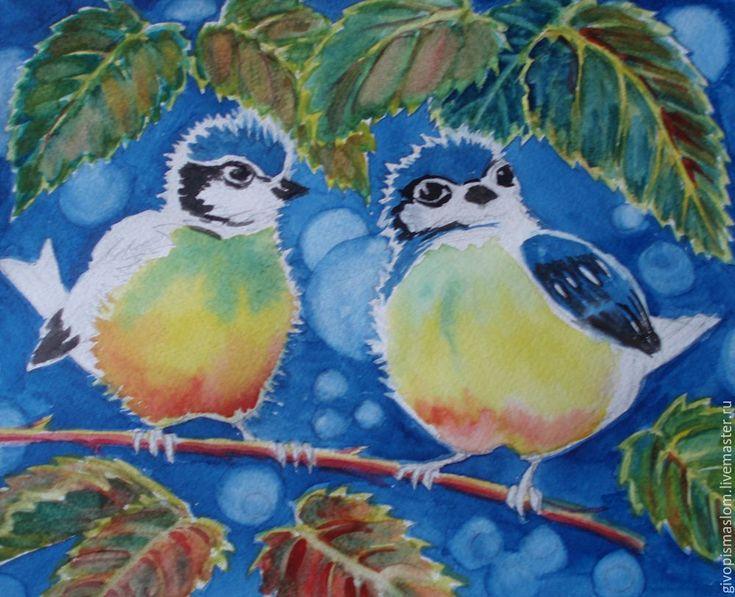 Рисуем с детьми картинку акварелью «Синички-яблочки» - Ярмарка Мастеров - ручная…