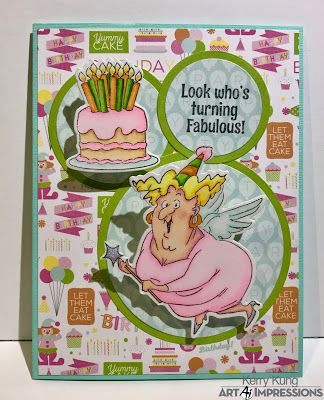 Art Impressions Rubber Stamps: Ai Spinners: Fairy Spinner Dies (Sku#4618) Fairy Spinner (Sku#4576) ... handmade birthday card.